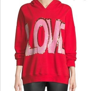 Alice + Olivia LOVE ❤️ sequin pullover red sz XS